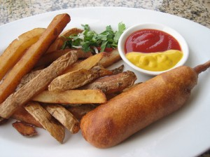 One World Vegan Corn Dog & Fresh Fries